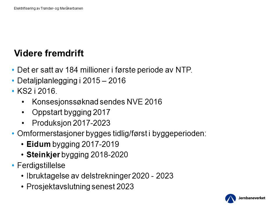 Videre fremdrift Det er satt av 184 millioner i første periode av NTP. Detaljplanlegging i 2015 – 2016 KS2 i 2016. Konsesjonssøknad sendes NVE 2016 Op