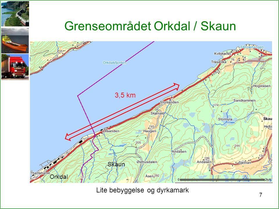 Grenseområdet Orkdal / Skaun 7 3,5 km Lite bebyggelse og dyrkamark Orkdal Skaun