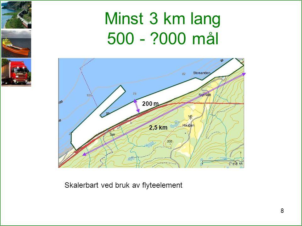 8 Minst 3 km lang 500 - ?000 mål 200 m 2,5 km Skalerbart ved bruk av flyteelement