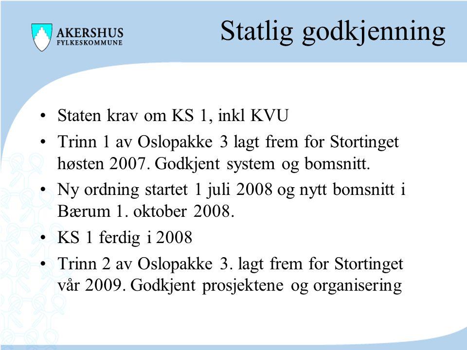 Statlig godkjenning Staten krav om KS 1, inkl KVU Trinn 1 av Oslopakke 3 lagt frem for Stortinget høsten 2007. Godkjent system og bomsnitt. Ny ordning