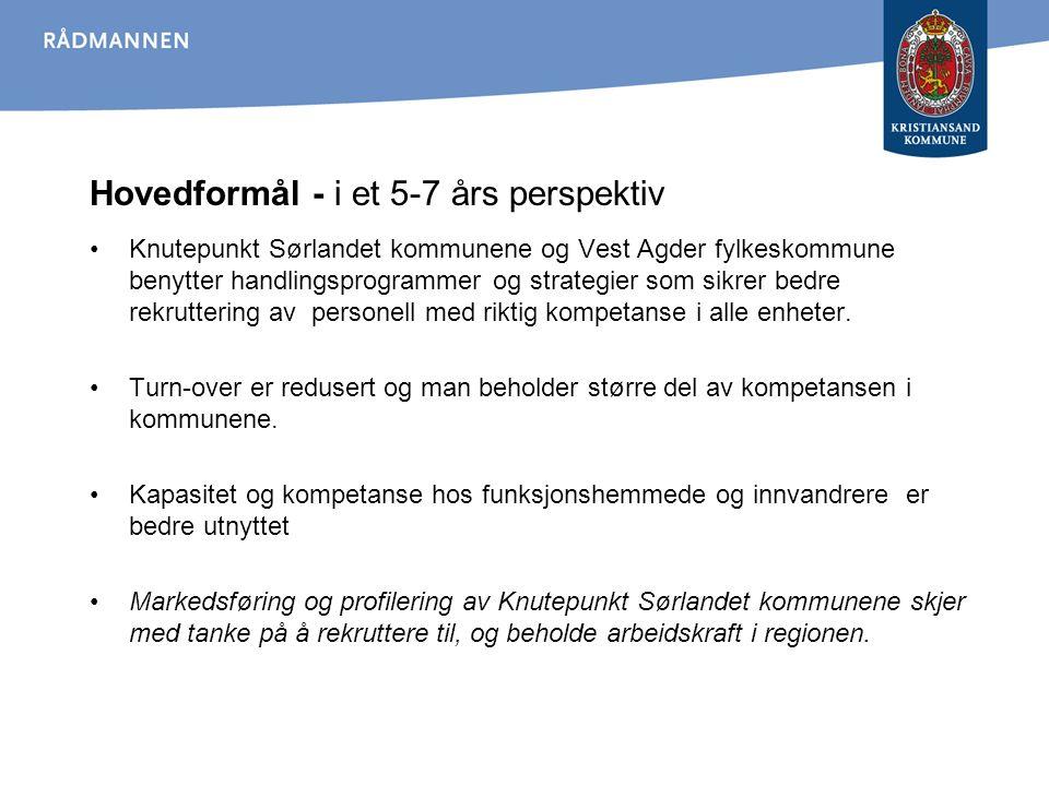 Hovedformål - i et 5-7 års perspektiv Knutepunkt Sørlandet kommunene og Vest Agder fylkeskommune benytter handlingsprogrammer og strategier som sikrer bedre rekruttering av personell med riktig kompetanse i alle enheter.