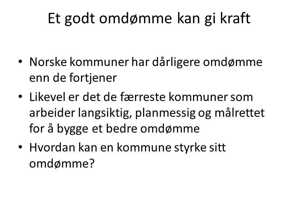Et godt omdømme kan gi kraft Norske kommuner har dårligere omdømme enn de fortjener Likevel er det de færreste kommuner som arbeider langsiktig, planmessig og målrettet for å bygge et bedre omdømme Hvordan kan en kommune styrke sitt omdømme