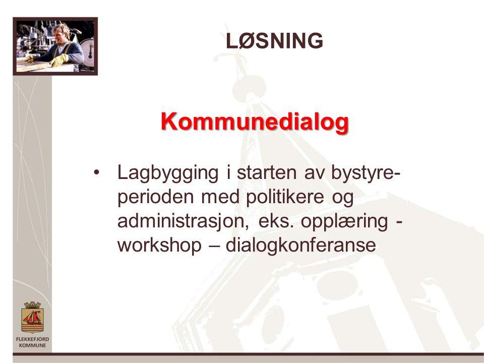 LØSNING Kommunedialog Lagbygging i starten av bystyre- perioden med politikere og administrasjon, eks.