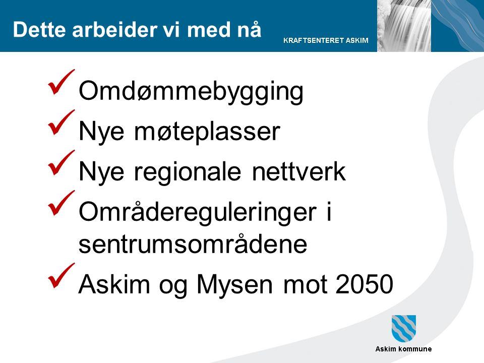 Dette arbeider vi med nå Omdømmebygging Nye møteplasser Nye regionale nettverk Områdereguleringer i sentrumsområdene Askim og Mysen mot 2050
