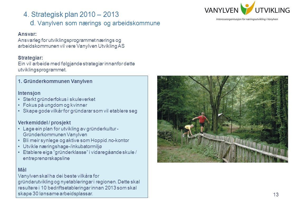 Strategisk plan 2010 - 2013 - Vanylven Utvikling AS 14 4.