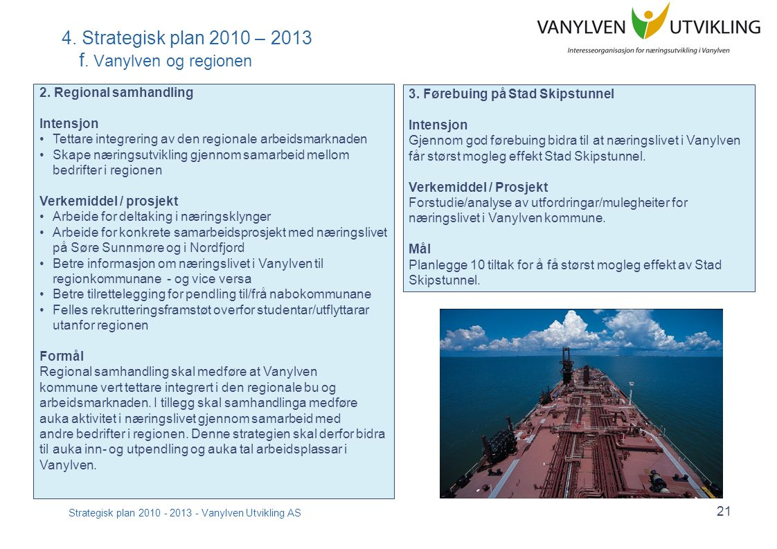Strategisk plan 2010 - 2013 - Vanylven Utvikling AS 21 4.
