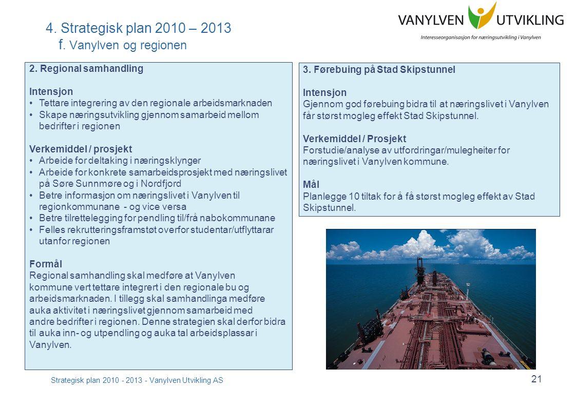 Strategisk plan 2010 - 2013 - Vanylven Utvikling AS 21 4. Strategisk plan 2010 – 2013 f. Vanylven og regionen 2. Regional samhandling Intensjon Tettar