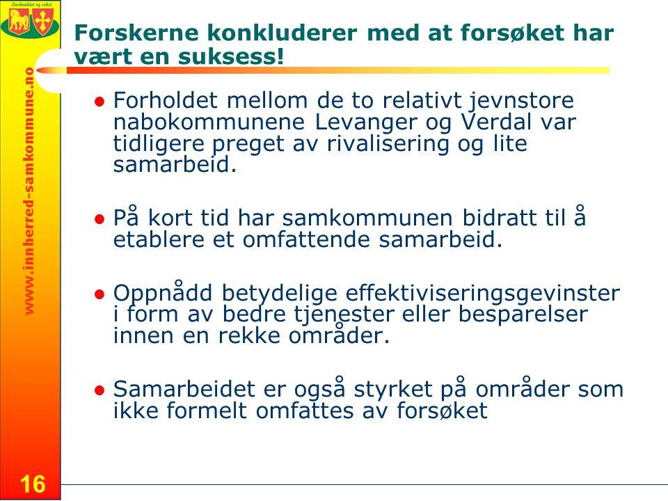 www.innherred-samkommune.no 16 Forholdet mellom de to relativt jevnstore nabokommunene Levanger og Verdal var tidligere preget av rivalisering og lite samarbeid.