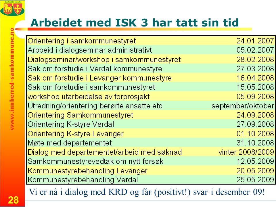 www.innherred-samkommune.no 28 Arbeidet med ISK 3 har tatt sin tid Vi er nå i dialog med KRD og får (positivt!) svar i desember 09!