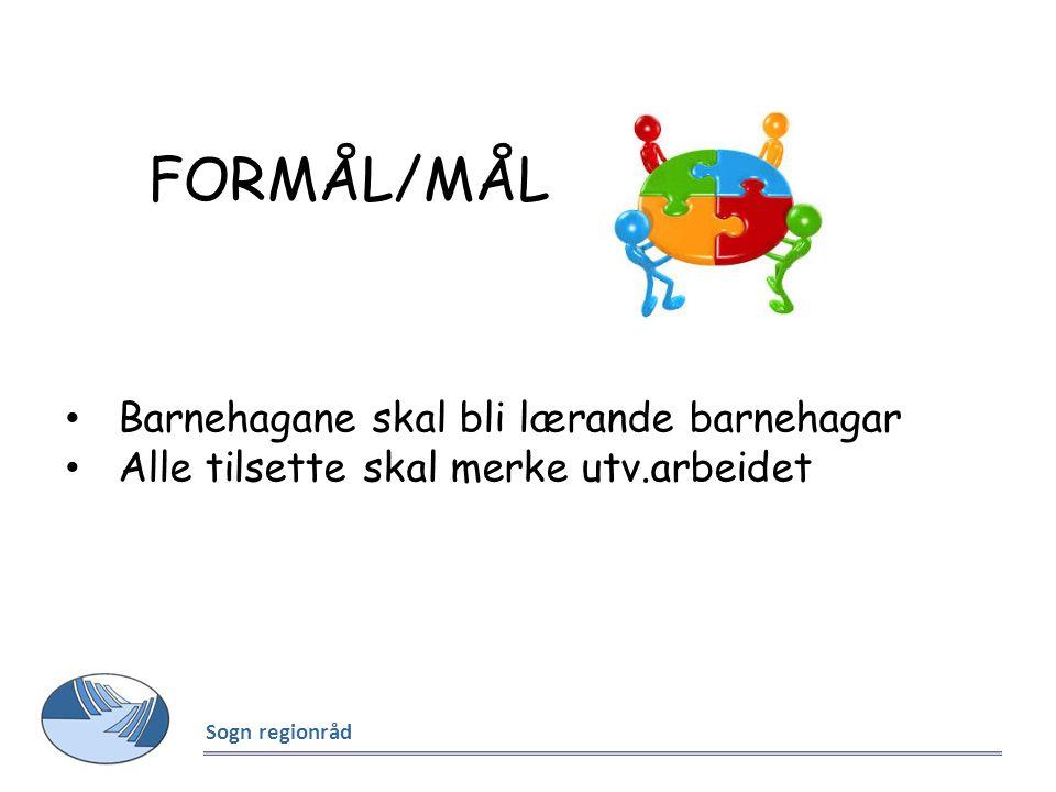 FORMÅL/MÅL Sogn regionråd Barnehagane skal bli lærande barnehagar Alle tilsette skal merke utv.arbeidet