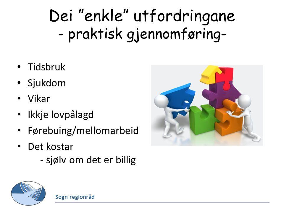 """Dei """"enkle"""" utfordringane - praktisk gjennomføring- Tidsbruk Sjukdom Vikar Ikkje lovpålagd Førebuing/mellomarbeid Det kostar - sjølv om det er billig"""
