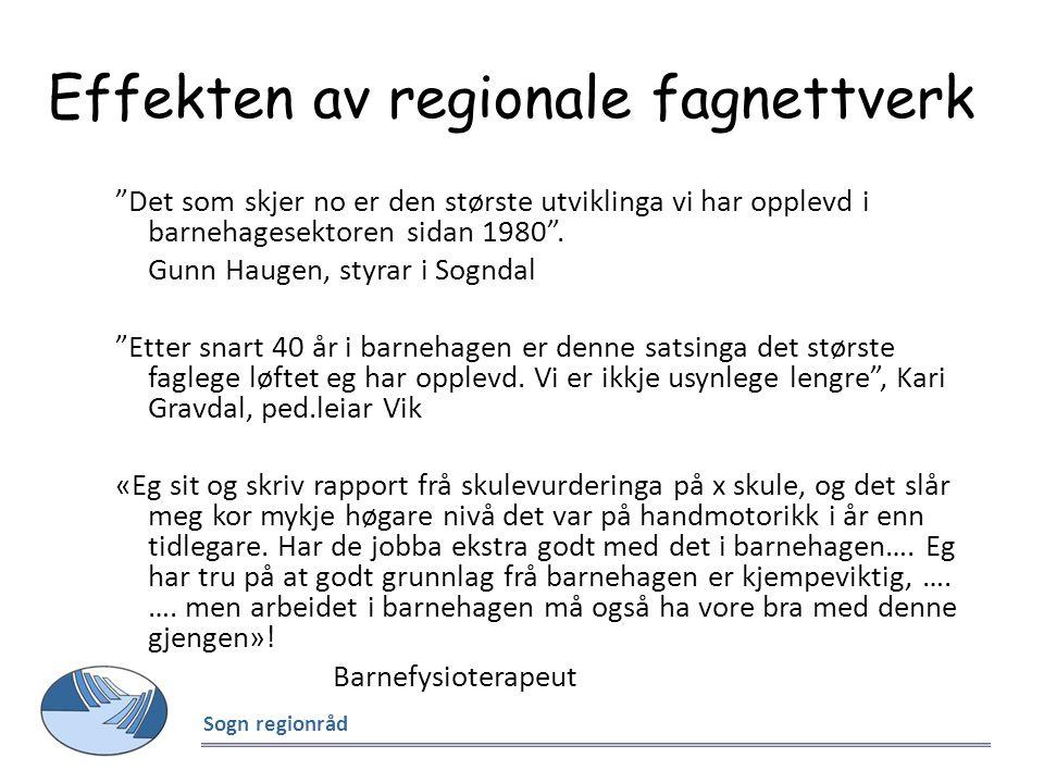 """Effekten av regionale fagnettverk """"Det som skjer no er den største utviklinga vi har opplevd i barnehagesektoren sidan 1980"""". Gunn Haugen, styrar i So"""