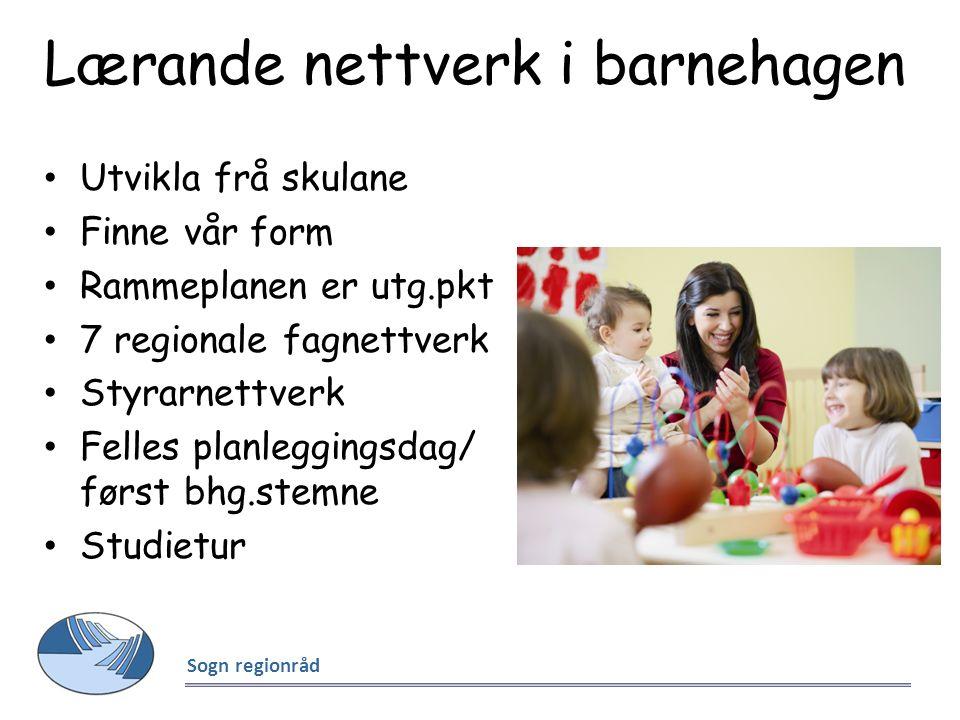 Lærande nettverk i barnehagen Utvikla frå skulane Finne vår form Rammeplanen er utg.pkt 7 regionale fagnettverk Styrarnettverk Felles planleggingsdag/