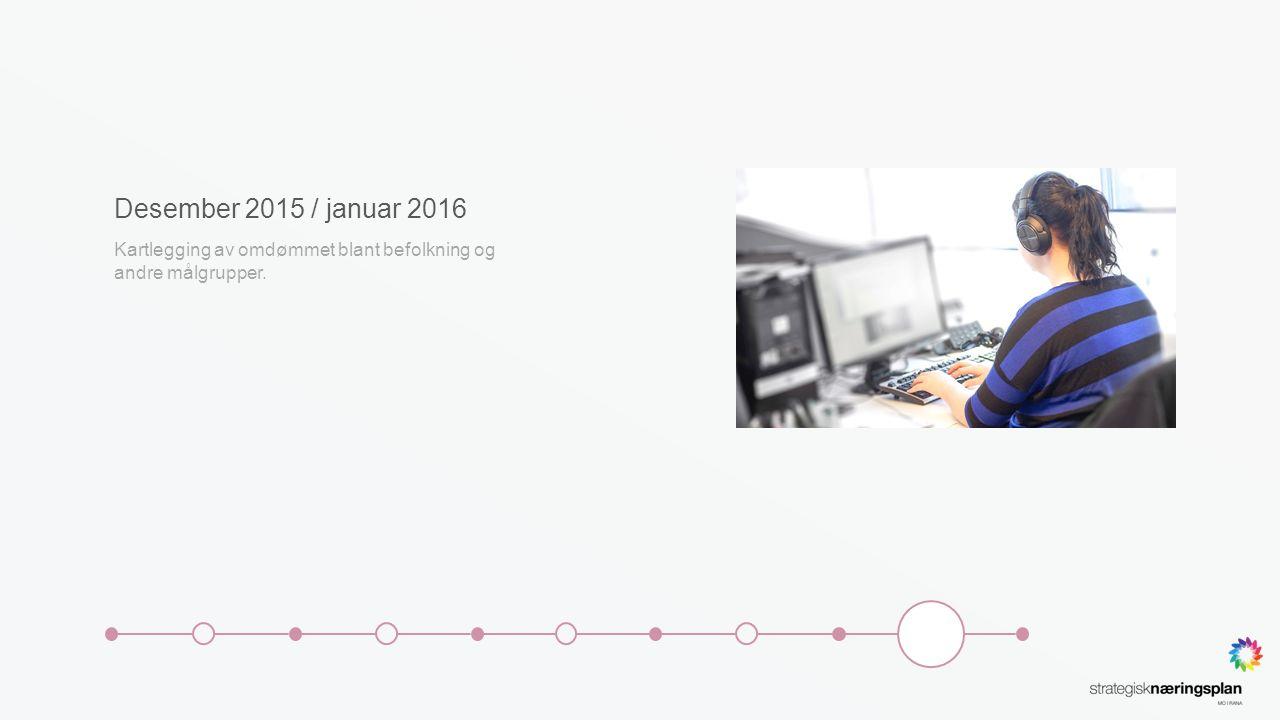 Desember 2015 / januar 2016 Kartlegging av omdømmet blant befolkning og andre målgrupper.