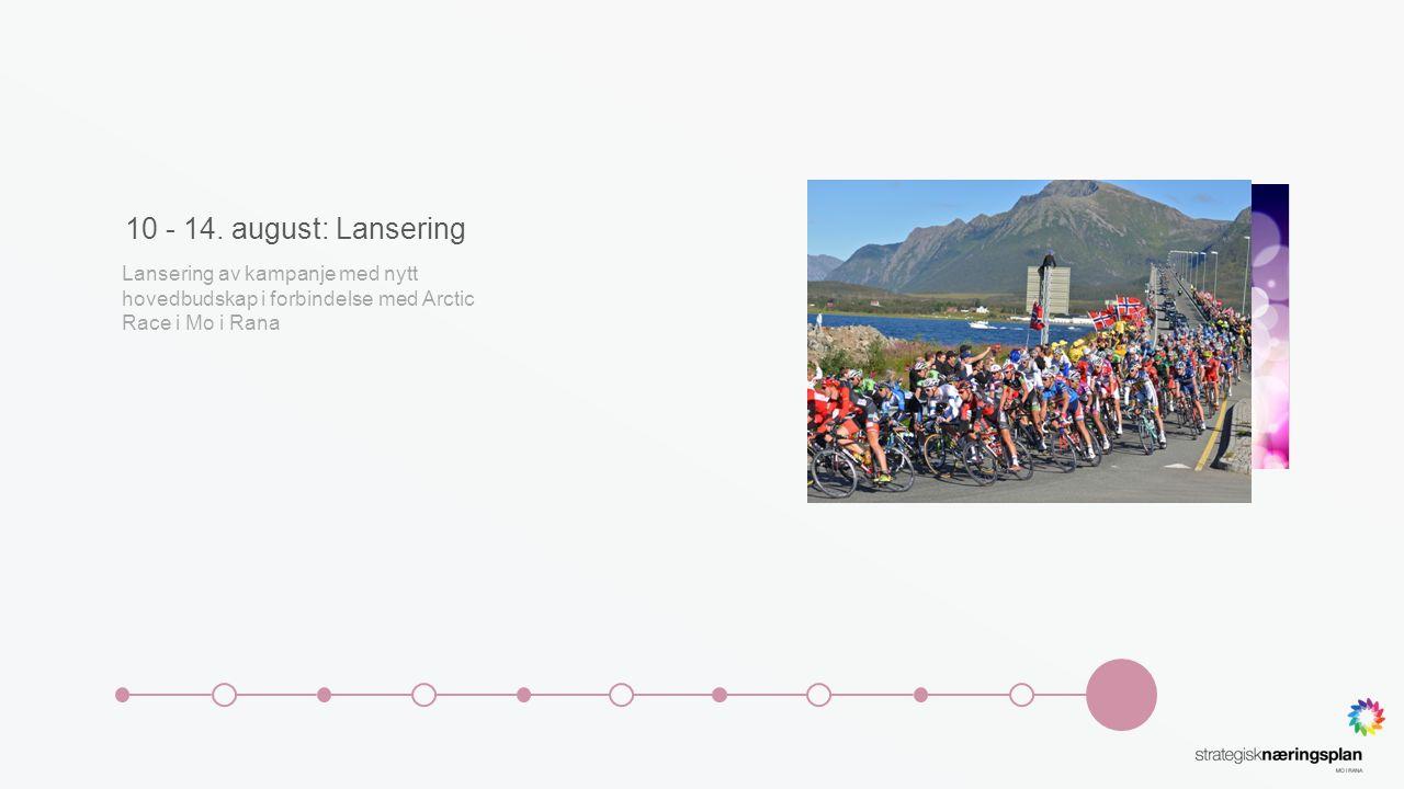 10 - 14. august: Lansering Lansering av kampanje med nytt hovedbudskap i forbindelse med Arctic Race i Mo i Rana