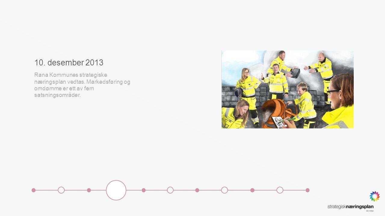10. desember 2013 Rana Kommunes strategiske næringsplan vedtas. Markedsføring og omdømme er ett av fem satsningsområder.