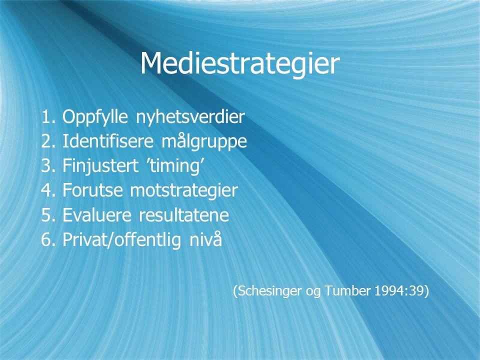 Mediestrategier 1. Oppfylle nyhetsverdier 2. Identifisere målgruppe 3.
