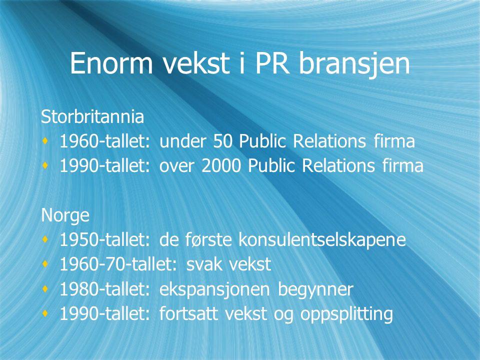Enorm vekst i PR bransjen Storbritannia  1960-tallet: under 50 Public Relations firma  1990-tallet: over 2000 Public Relations firma Norge  1950-tallet: de første konsulentselskapene  1960-70-tallet: svak vekst  1980-tallet: ekspansjonen begynner  1990-tallet: fortsatt vekst og oppsplitting Storbritannia  1960-tallet: under 50 Public Relations firma  1990-tallet: over 2000 Public Relations firma Norge  1950-tallet: de første konsulentselskapene  1960-70-tallet: svak vekst  1980-tallet: ekspansjonen begynner  1990-tallet: fortsatt vekst og oppsplitting