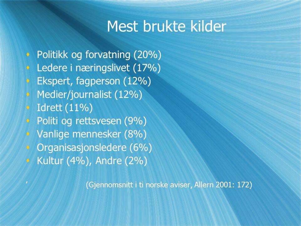 Mest brukte kilder  Politikk og forvatning (20%)  Ledere i næringslivet (17%)  Ekspert, fagperson (12%)  Medier/journalist (12%)  Idrett (11%)  Politi og rettsvesen (9%)  Vanlige mennesker (8%)  Organisasjonsledere (6%)  Kultur (4%), Andre (2%) '(Gjennomsnitt i ti norske aviser, Allern 2001: 172)  Politikk og forvatning (20%)  Ledere i næringslivet (17%)  Ekspert, fagperson (12%)  Medier/journalist (12%)  Idrett (11%)  Politi og rettsvesen (9%)  Vanlige mennesker (8%)  Organisasjonsledere (6%)  Kultur (4%), Andre (2%) '(Gjennomsnitt i ti norske aviser, Allern 2001: 172)