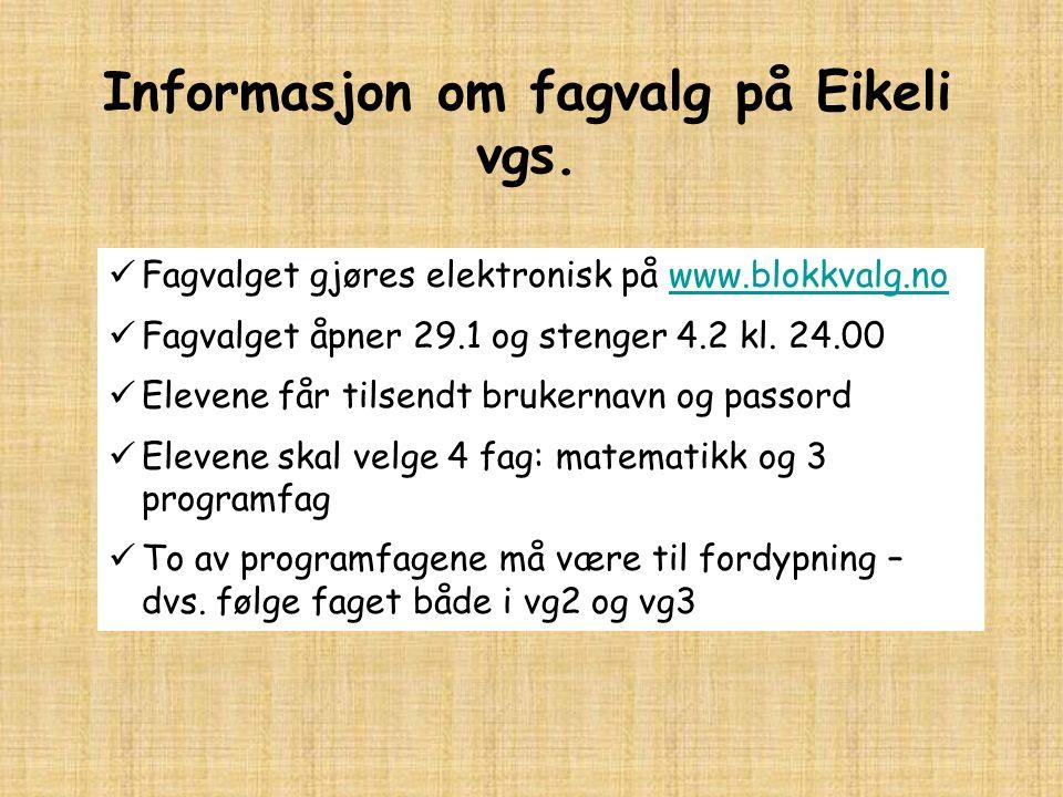 Informasjon om fagvalg på Eikeli vgs. Fagvalget gjøres elektronisk på www.blokkvalg.nowww.blokkvalg.no Fagvalget åpner 29.1 og stenger 4.2 kl. 24.00 E