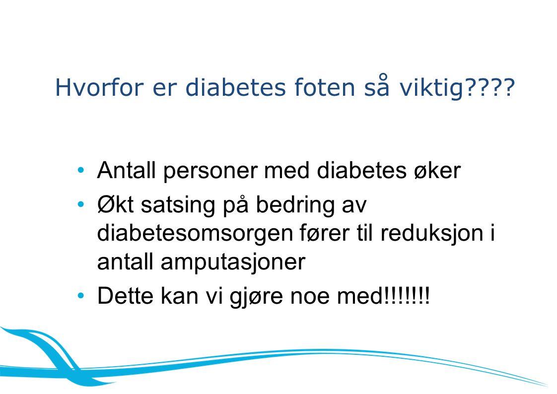 Antall personer med diabetes øker Økt satsing på bedring av diabetesomsorgen fører til reduksjon i antall amputasjoner Dette kan vi gjøre noe med!!!!!!.