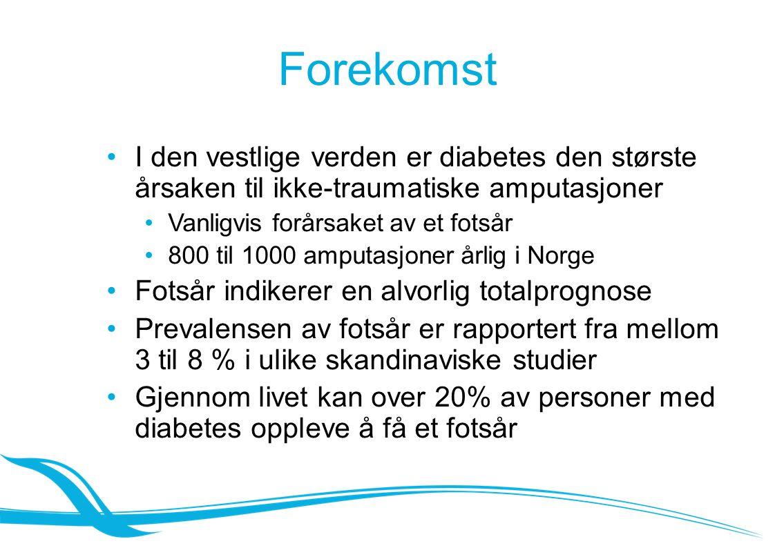Forekomst I den vestlige verden er diabetes den største årsaken til ikke-traumatiske amputasjoner Vanligvis forårsaket av et fotsår 800 til 1000 amputasjoner årlig i Norge Fotsår indikerer en alvorlig totalprognose Prevalensen av fotsår er rapportert fra mellom 3 til 8 % i ulike skandinaviske studier Gjennom livet kan over 20% av personer med diabetes oppleve å få et fotsår