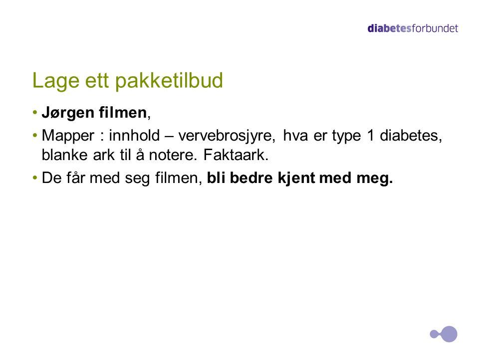 Lage ett pakketilbud Jørgen filmen, Mapper : innhold – vervebrosjyre, hva er type 1 diabetes, blanke ark til å notere. Faktaark. De får med seg filmen