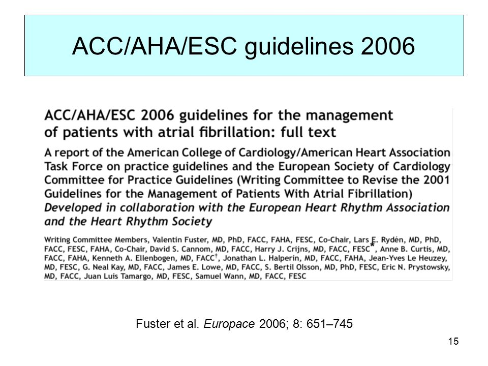 15 ACC/AHA/ESC guidelines 2006 Fuster et al. Europace 2006; 8: 651–745