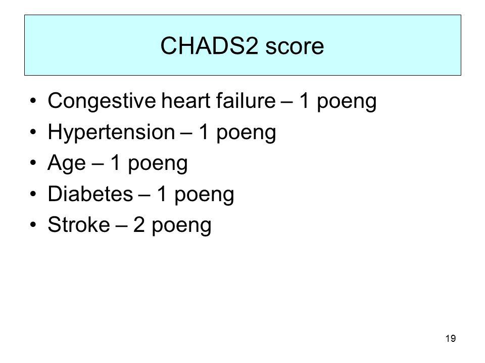 19 CHADS2 score Congestive heart failure – 1 poeng Hypertension – 1 poeng Age – 1 poeng Diabetes – 1 poeng Stroke – 2 poeng