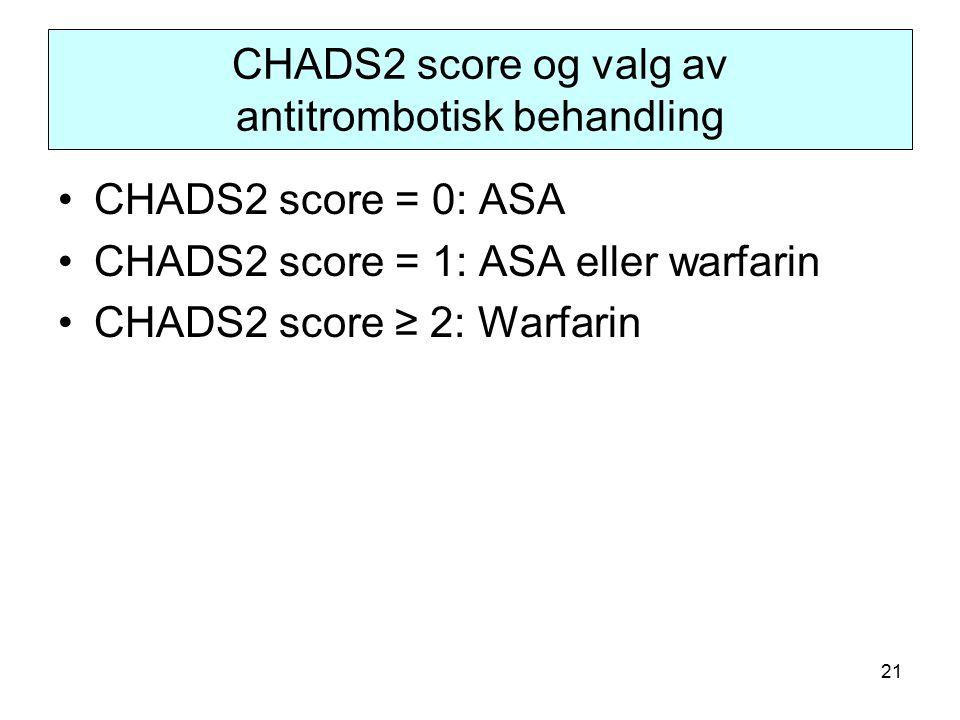 21 CHADS2 score og valg av antitrombotisk behandling CHADS2 score = 0: ASA CHADS2 score = 1: ASA eller warfarin CHADS2 score ≥ 2: Warfarin