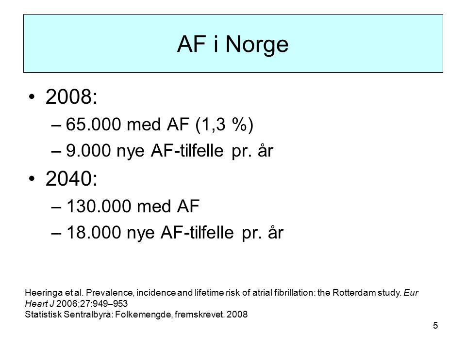5 AF i Norge 2008: –65.000 med AF (1,3 %) –9.000 nye AF-tilfelle pr.