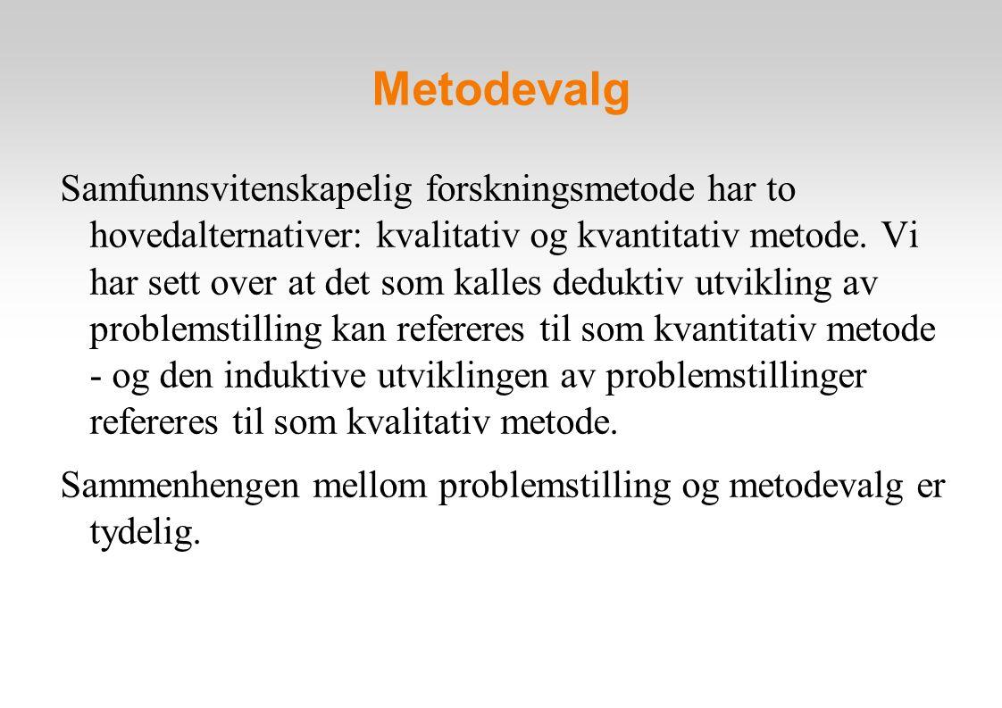 Metodevalg Samfunnsvitenskapelig forskningsmetode har to hovedalternativer: kvalitativ og kvantitativ metode.