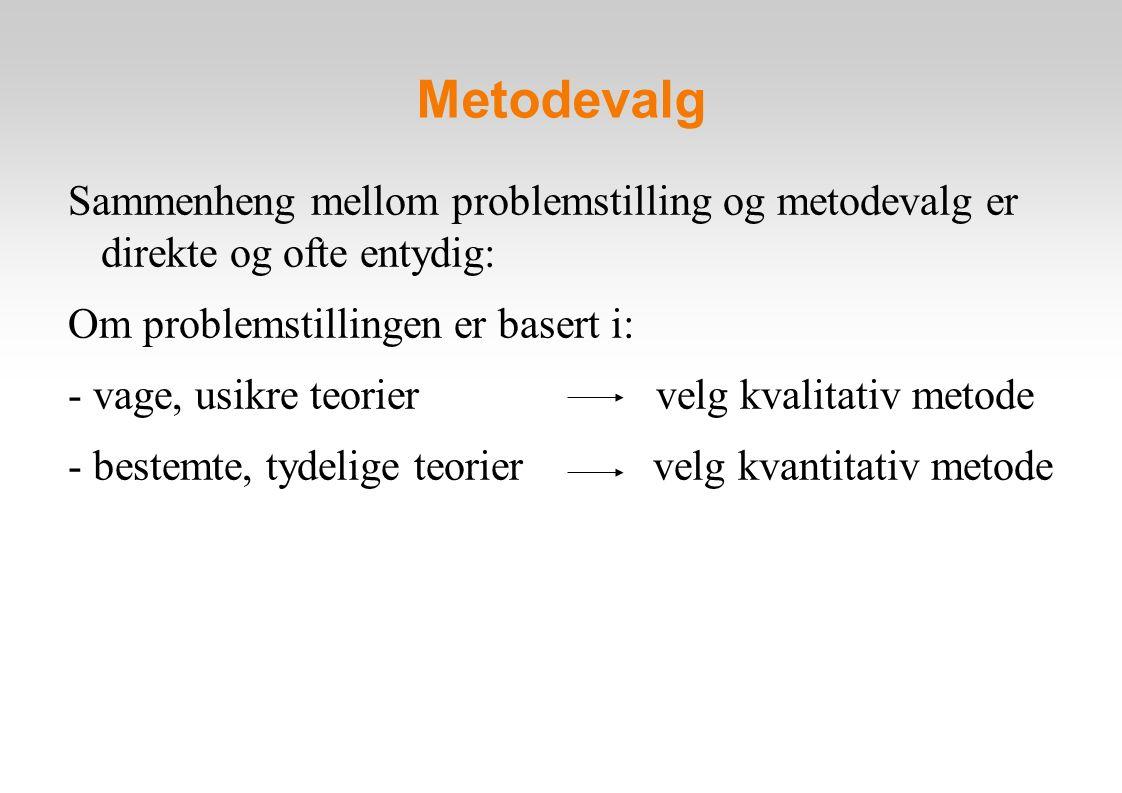 Metodevalg Sammenheng mellom problemstilling og metodevalg er direkte og ofte entydig: Om problemstillingen er basert i: - vage, usikre teorier velg kvalitativ metode - bestemte, tydelige teorier velg kvantitativ metode