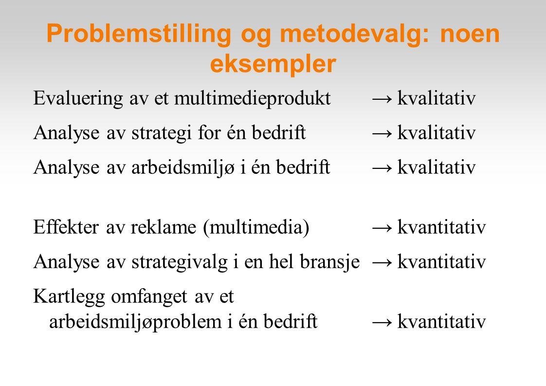 Problemstilling og metodevalg: noen eksempler Evaluering av et multimedieprodukt → kvalitativ Analyse av strategi for én bedrift → kvalitativ Analyse