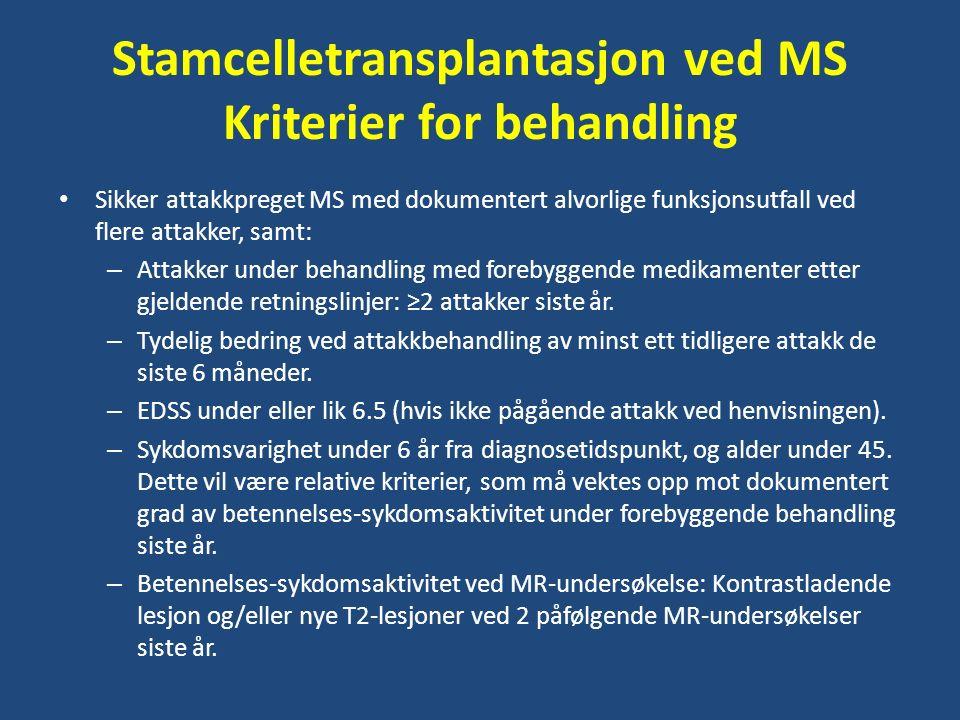 Stamcelletransplantasjon ved MS Kriterier for behandling Sikker attakkpreget MS med dokumentert alvorlige funksjonsutfall ved flere attakker, samt: – Attakker under behandling med forebyggende medikamenter etter gjeldende retningslinjer: ≥2 attakker siste år.