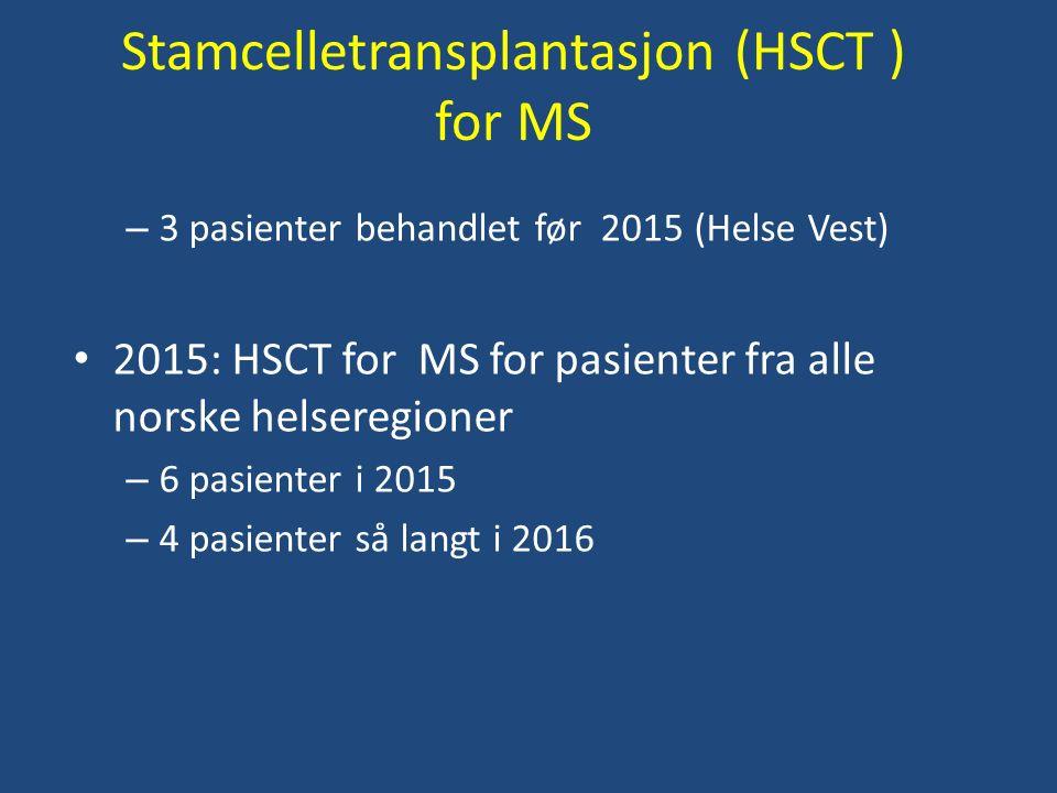 Stamcelletransplantasjon (HSCT ) for MS – 3 pasienter behandlet før 2015 (Helse Vest) 2015: HSCT for MS for pasienter fra alle norske helseregioner – 6 pasienter i 2015 – 4 pasienter så langt i 2016