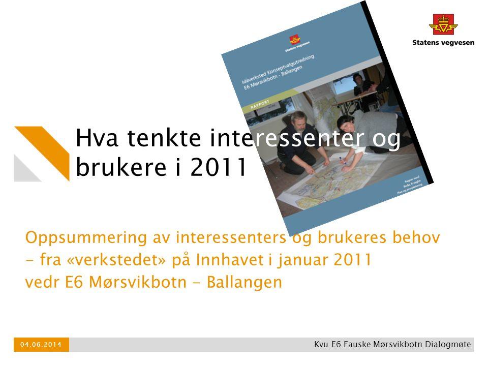 Hva tenkte interessenter og brukere i 2011 Oppsummering av interessenters og brukeres behov - fra «verkstedet» på Innhavet i januar 2011 vedr E6 Mørsv