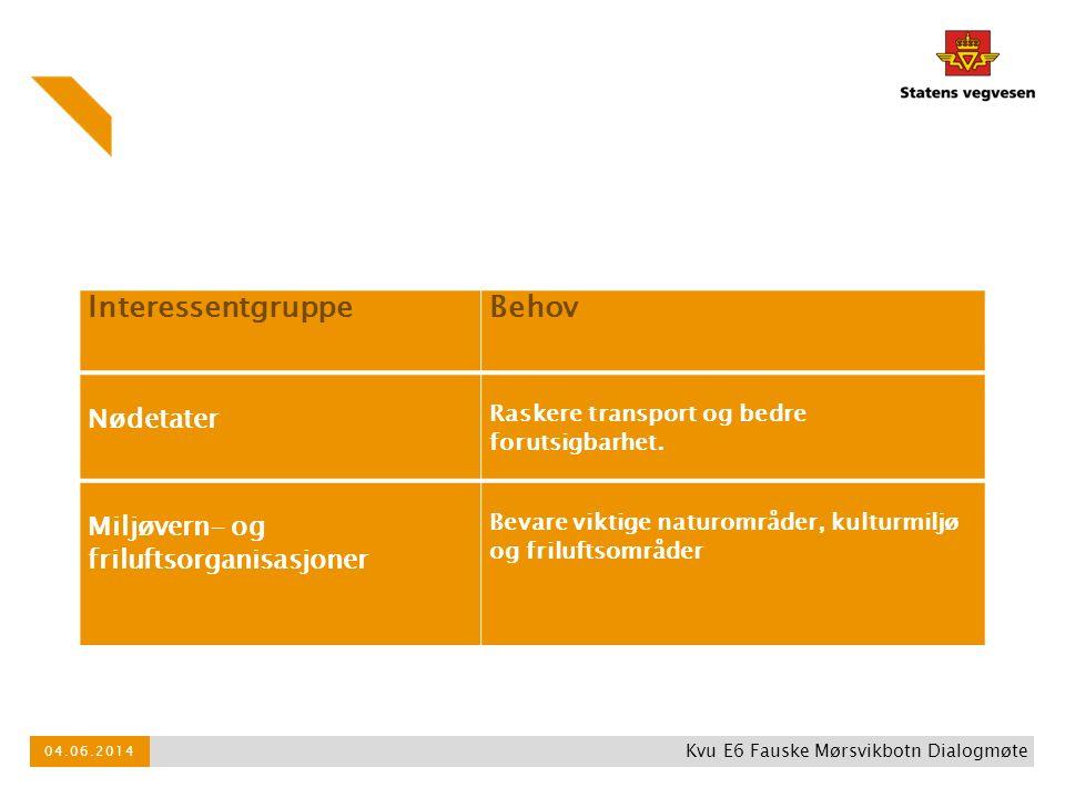 InteressentgruppeBehov Nødetater Raskere transport og bedre forutsigbarhet. Miljøvern- og friluftsorganisasjoner Bevare viktige naturområder, kulturmi