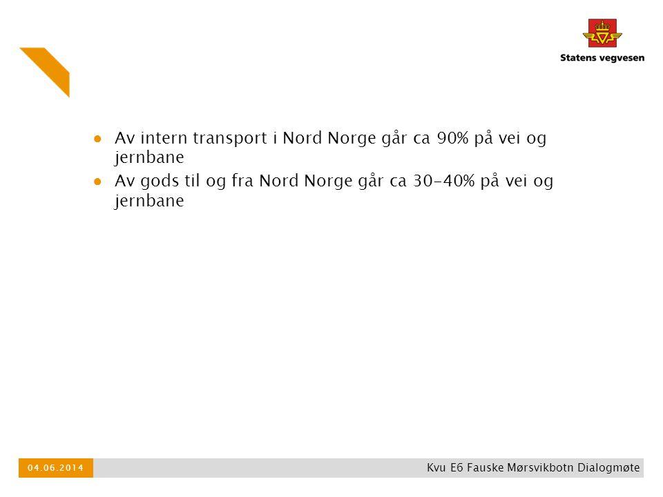 ● Av intern transport i Nord Norge går ca 90% på vei og jernbane ● Av gods til og fra Nord Norge går ca 30-40% på vei og jernbane 04.06.2014 Kvu E6 Fa