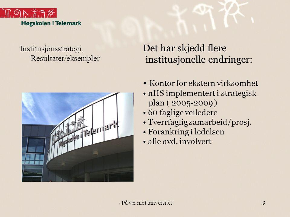 9 Institusjonsstrategi, Resultater/eksempler Det har skjedd flere institusjonelle endringer: Kontor for ekstern virksomhet nHS implementert i strategisk plan ( 2005-2009 ) 60 faglige veiledere Tverrfaglig samarbeid/prosj.