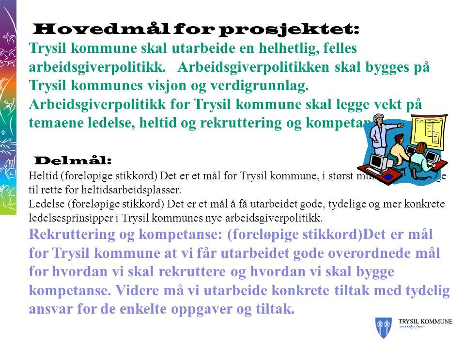 - stavtaket foran Hovedmål for prosjektet: Trysil kommune skal utarbeide en helhetlig, felles arbeidsgiverpolitikk.