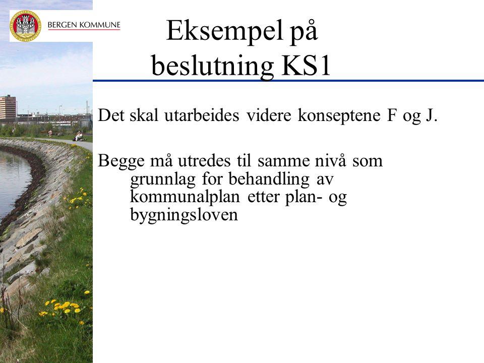 Eksempel på beslutning KS1 Det skal utarbeides videre konseptene F og J.