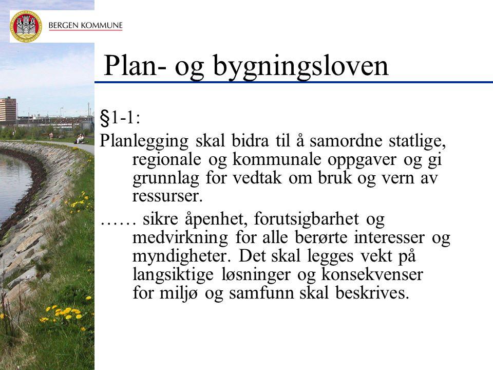 Plan- og bygningsloven §1-1: Planlegging skal bidra til å samordne statlige, regionale og kommunale oppgaver og gi grunnlag for vedtak om bruk og vern av ressurser.