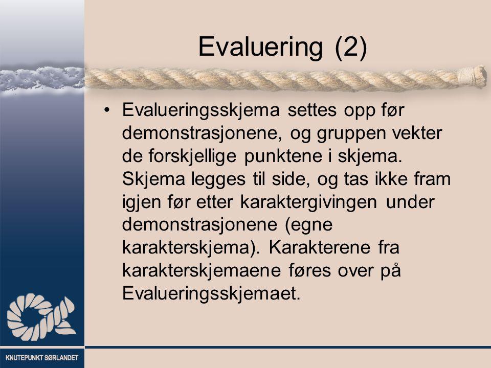 Evaluering (2) Evalueringsskjema settes opp før demonstrasjonene, og gruppen vekter de forskjellige punktene i skjema.