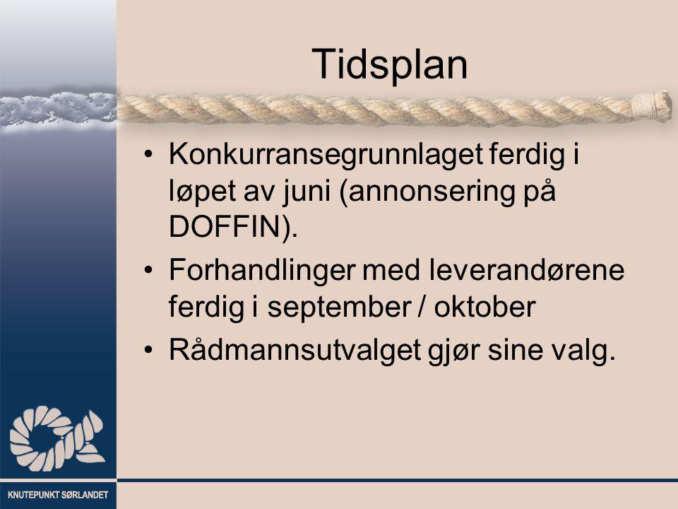 Tidsplan Konkurransegrunnlaget ferdig i løpet av juni (annonsering på DOFFIN).