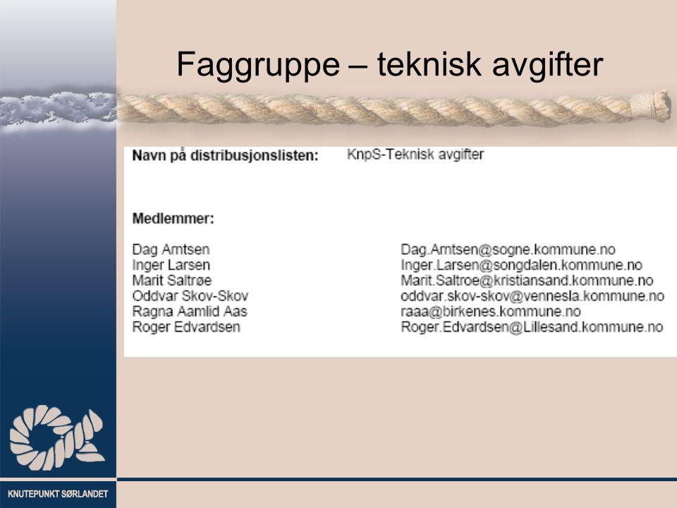 Faggruppe – teknisk avgifter