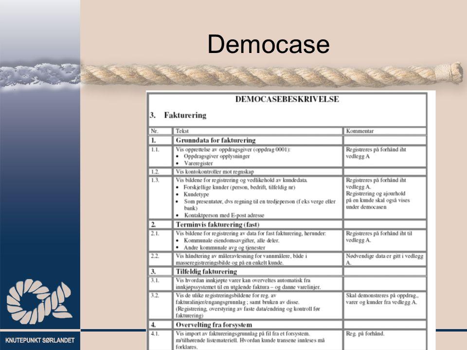 Evaluering Programpakke generelt / teknisk løsning Funksjonalitet Prosesstøtte Økonomi Gjennomføringsevne Leverandør (helhetsvurdering)