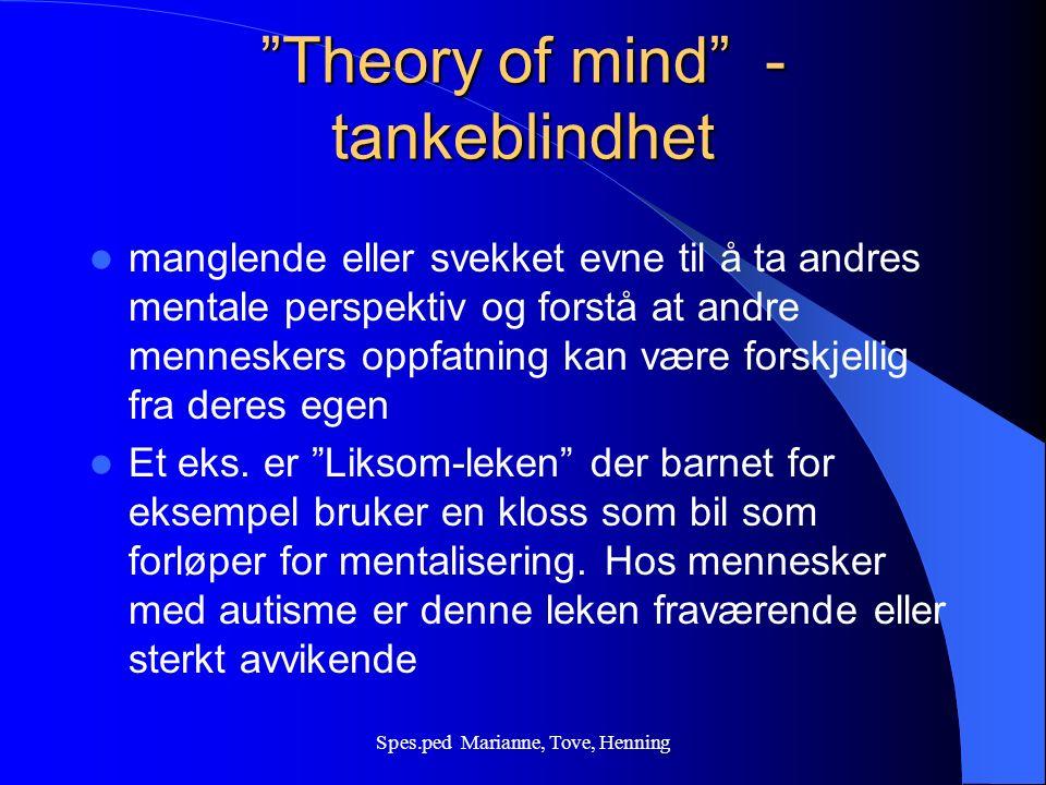 Spes.ped Marianne, Tove, Henning Kjennetegn: Splinterferdigheter Uvanlige hukommelsesfunksjoner; Musikk eller tegning Finne figurer i skjulte, kompliserte mønster.