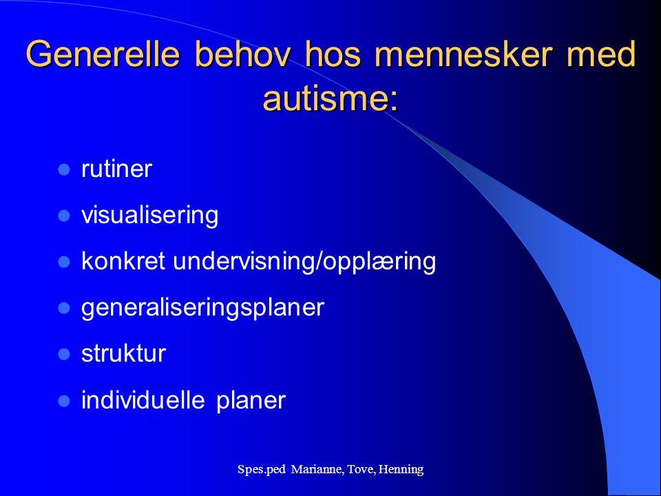 Spes.ped Marianne, Tove, Henning Landsforeningen for autister har følgende målsetting for opplæringen: - opplæring i livslangt perspektiv - mulighet til å kunne fungere i bolig og arbeid - høyst mulig grad av selvforsørgelse - bredest mulig kontaktflate i nærmiljøet - opprettholdelse av familieforhold