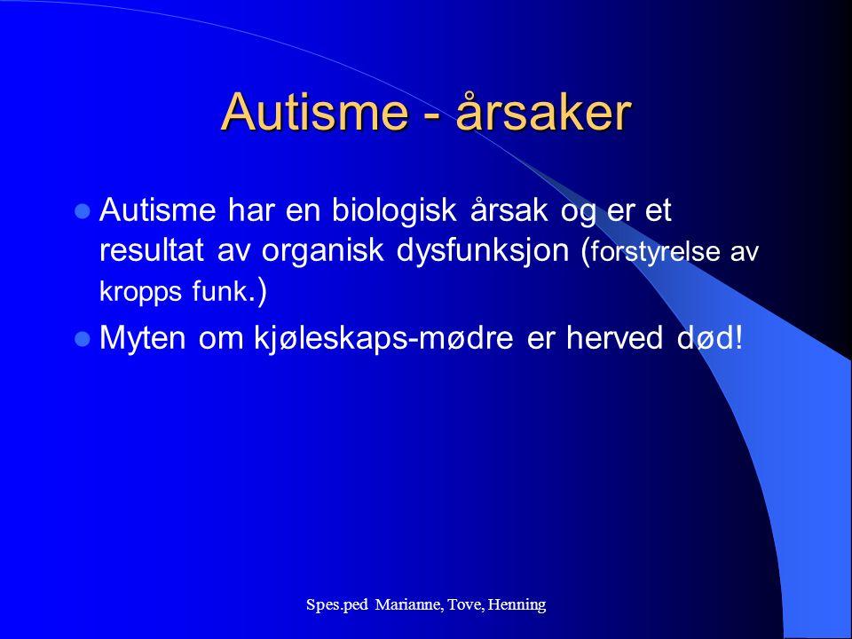 Spes.ped Marianne, Tove, Henning Autisme - Schizofreni Autisme viser seg før 3 års alder Schizofreni viser seg oftest etter 15 års alder Personer med autisme veksler ikke mellom perioder med tilnærmet normal funksjon og faser med akutt sykdom slik det ofte kan sees ved Schizofreni